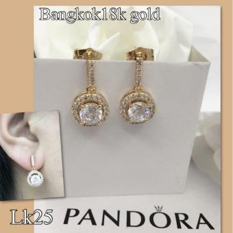 Saudi Gold 18K Collection Online Boutique Shoppe Pandora Bangkok Gold Cath Dangling Stud Earrings with Cubic Zirconia Hypoallergenic Women's Jewelry (Not Pawnable)