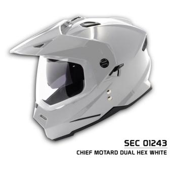 SEC 01243 Chief Motard Dual Hex White Helmet (2017 Collection)