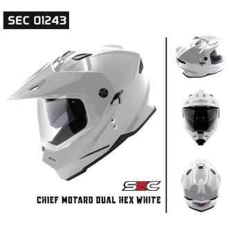 SEC 01243 Chief Motard Dual Hex White Helmet (2017 Collection) - 2
