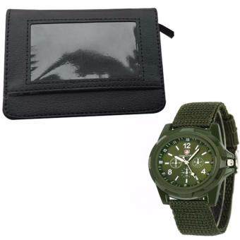 Security Credit Card Wallet (Black) WITH GEMIUS ARMY Military SportStyle Army Men's Green Canvas Strap Watch