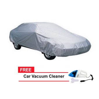 Sedan Car Cover (Grey) with FREE Car Vacuum Cleaner Portable (Blue)
