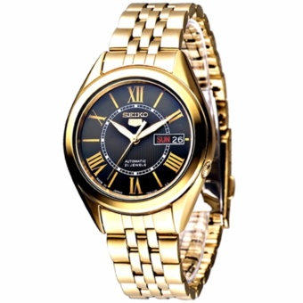 Seiko 5 Automatic Black Dial Gold Stainless Steel Men's Watch SNKL40K1