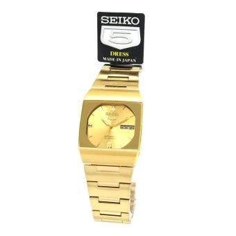 Seiko Watch 5 Automatic Gold Stainless-Steel Case Stainless-Steel Bracelet Mens JAPAN NWT + Warranty SNY008J1