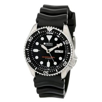 Seiko Watch Automatic Diver's Black Stainless-Steel Case Rubber Strap Mens JAPAN NWT + Warranty SKX007J1