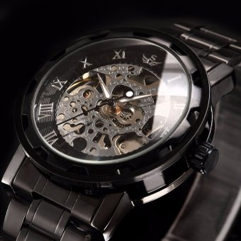 SEWOR Brand Luxury Skeleton Mechanical Watch Men Fashion StainlessSteel Design Class Hand Wind Men's Watches Relogio Masculino