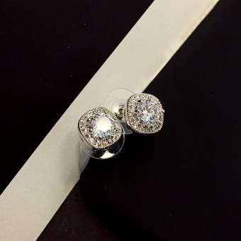 Shan bao s925 crystal SHININGSTAR models silver needle ear ring Korean-style earrings