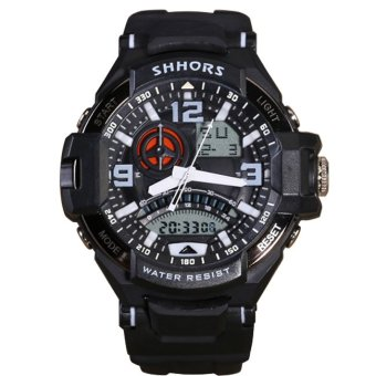 Shhors 787 Men's White/Black Rubber Strap Dual Display Multifunction Sports Watch