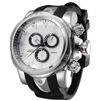 SHHORS 80085 Men Silicone Strap Quartz Sports Watch (Silver )