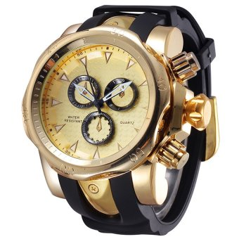 SHHORS 80085 MenSilicone Strap Quartz Sports Watch (Gold)