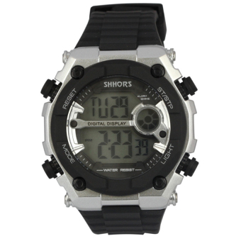 SHHORS 825 Men's Resin Strap Sports Digital Wrist Watch Black/Silver