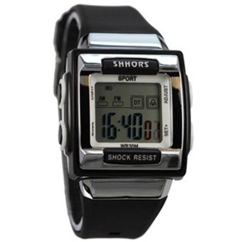 SHHORS Candy Color Waterproof Sports Watch (Black)
