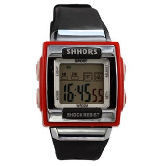 SHHORS Candy Sports Women Plastic Strap Watch (Black/Red)