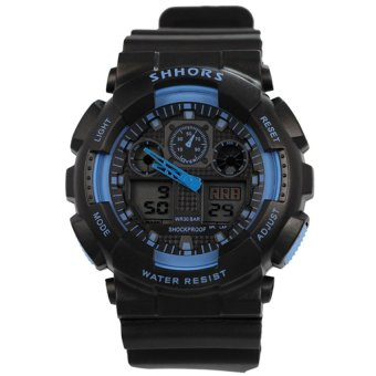 SHHORS SH-692 Men Black/Skyblue Digital Sports Rubber Strap Watch