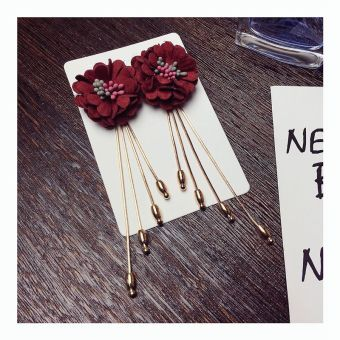 Shishang female elegant stud flower tassled earrings