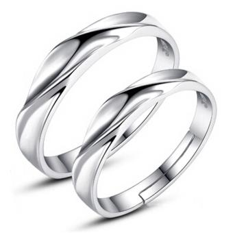 Silver Adjustable Couple Rings Jewelry Affectionate Lovers Rings E009 - 2