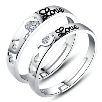 Silver Adjustable Couple Rings Jewelry Affectionate Lovers Rings E011