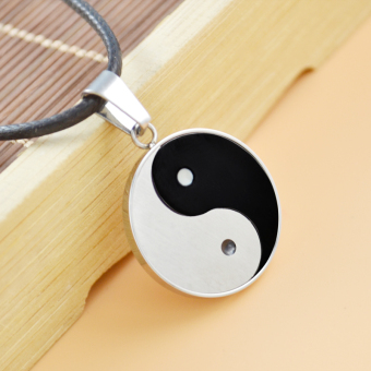 Silver edge treasure innate tai chi gossip necklace