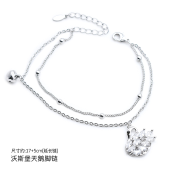 Silver edge treasure Jianyue Bell couple's anklet