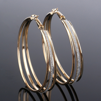 Silver Gold Plated Crystal Rhinestone Three Circles Hoop Dangle Earrings Golden