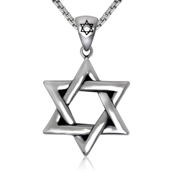 Silver tone Stainless Steel Jewish Star of David Pendant NecklaceNew W/ SS Chain 60CM Long - Intl