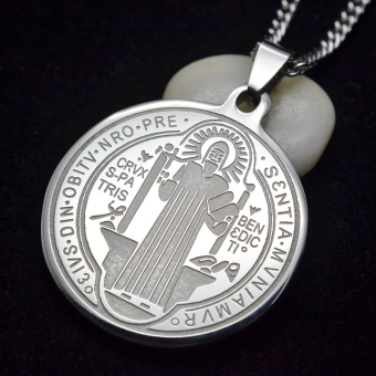 Silver Tone Stainless Steel Patron Saint St.Benedict Holy Medal Charm Pendant Necklace SS Chain 60CM - Intl