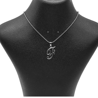 Silverworks X1764 Balls Chain with Letter F Pendant Necklace (Silver)