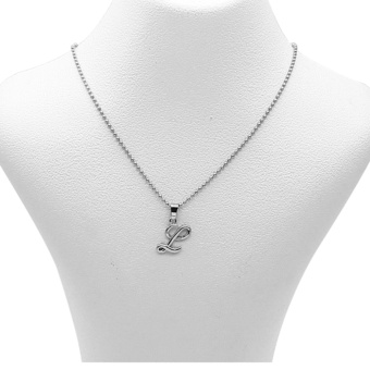 Silverworks X1770 Balls Chain with Letter L Pendant Necklace (Silver)