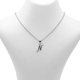 Silverworks X1772 Letter N Necklace (Silver)