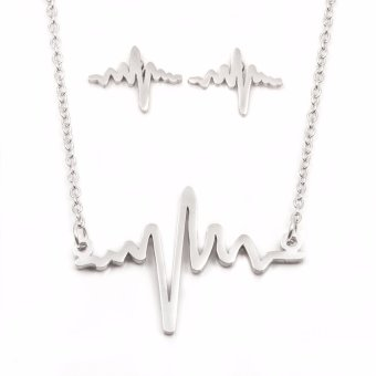 Silverworks X3153 Heartbeat Pendant Necklace with Earrings