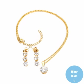 Silverworks X3519 18K Gold Plated 3 Zircon Drop Necklace and Earrings Sets