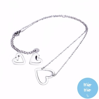 Silverworks X3556 Big Open Heart Necklace and Earrings Set