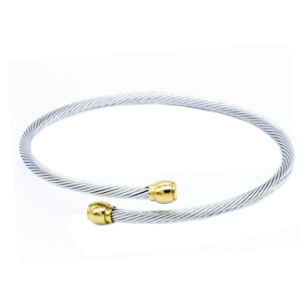 Silverworks X3585 Twisted Bangle with 18k Gold Plated on End