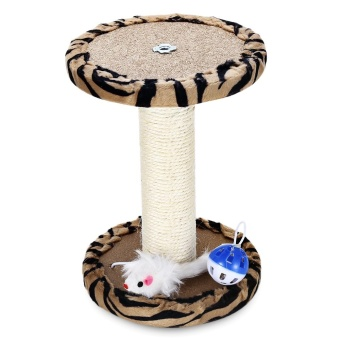 Single Platform Kitten Small Cat Tree Tower Playground With Scratching Posts Hanging Toy (Zebra Stripes) - intl - 3