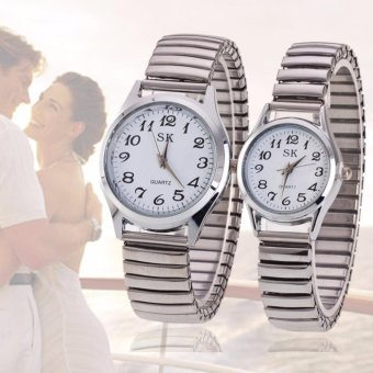 SK Couple Stainless Steel Strap Watch (Silver)
