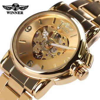 Skeleton Watch Gold Automatic Mechanical Love Shape Wristwatch Stainless Steel Strap Women Casual Fashion Watch (Gold) - intl