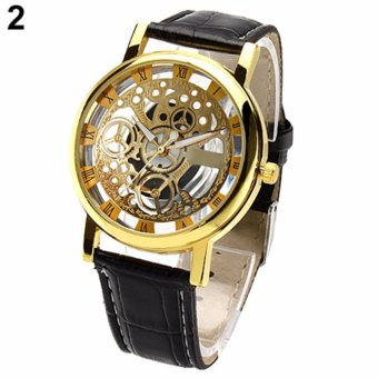 Skeleton Watch(GOLD)New Brand Luxury Fashion Casual Stainless Steel Men Skeleton Watch Women Dress Wristwatch Steel Quartz Hollow Watches Men