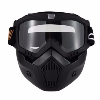 Ski Bike Motorcycle Face Mask Goggles Motocross Motorbike MotorOpen Face Detachable Goggle Helmets Vintage Glasses - intl
