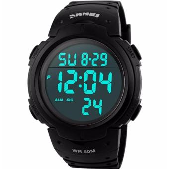 Skmei 1068 Waterproof Men's Digital LED Sports Wrist Watch (Black)