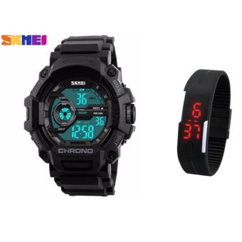 SKMEI 1233 Men Sports Digital Quartz Watch Water Resistant (Black) With Fashion Candy LED Watch (color may vary) Price Philippines