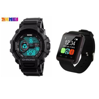 SKMEI 1233 Men Sports Digital Quartz Watch Water Resistant (Black) With M8 Bluetooth V3.0 Touchscreen Smart Wrist Watch (Black)