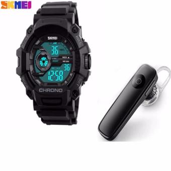 SKMEI 1233 Men Sports Digital Quartz Watch Water Resistant (Black)with M165 Bluetooth V4.0 Stereo Smartphone Headset for iphoneAndroid (Black)