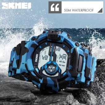 SKMEI 1233 Men's LED Luminous Watch Water Resistant Day Date Alarm Stopwatch Sports Rubber Strap Wristwatch