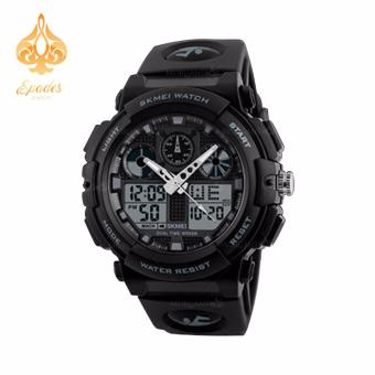 SKMEI 1270 Dual Time Display Big Face Men's LED Digital Watch Chronograph Sports Watches Military (Black)