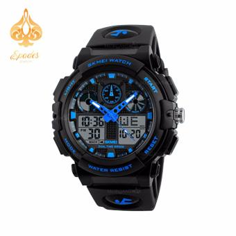 SKMEI 1270 Dual Time Display Big Face Men's LED Digital Watch Chronograph Sports Watches Military (Blue)