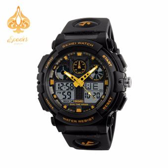 SKMEI 1270 Dual Time Display Big Face Men's LED Digital Watch Chronograph Sports Watches Military (Yellow)