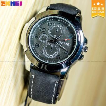 SKMEI 3999 Men's Fashion Leather Strap Sports Quartz Wrist Watch BLACK