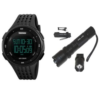 SKMEI Brand 1219 LED Digital Mens Military Watch Men Sports Watches With Rechargeable Police Flashlight with Stun Gun Taser (Black)