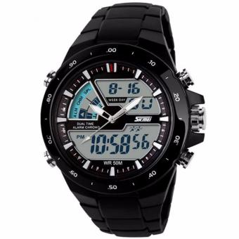 SKMEI Brand Casual Men Sports Watches Digital Quartz Women Fashion Dress Wristwatches LED Dive Military Watch-1016 (Black)