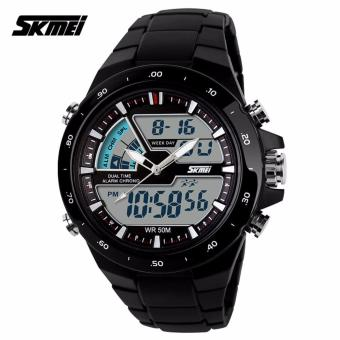 SKMEI Brand Casual Men Sports Watches Digital Quartz Women Fashion Dress Wristwatches LED Dive Military Watch (Black)