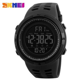 SKMEI Men Sports Watches Countdown Double Time Watch Alarm Chrono Digital Wristwatches 50M Waterproof Watches 1251 - All Black - intl